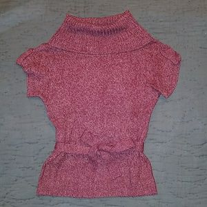 Cozy cowl neck short-sleeved sweater